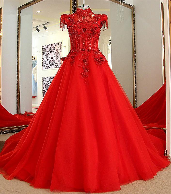 2cdfa4dc5945 Classical Red A Line High Neck Lace-up Floor-Length Appliques Evening Dress  [Item Code: 32761904952]