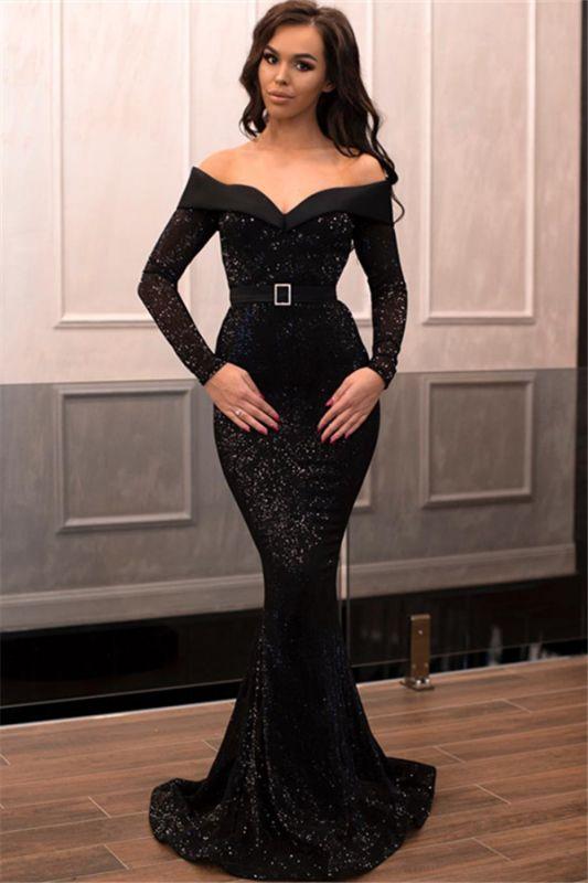 Mermaid Sequins Off-the-Shoulder Long-Sleeves Long Prom Dress