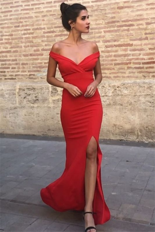 Sexy Mermaid Off-the-Shoulder Sleeveless Front-Slipt Prom Dress