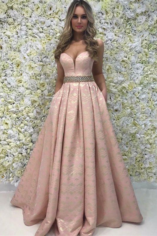 Elegant A-Line Sweetheart Beading Sleeveless Floor-Length Prom Dress