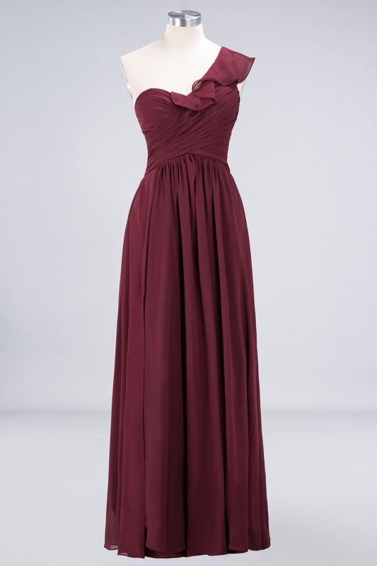Elegant Princess Chiffon One-Shoulder Sweetheart Sleeveless Floor-Length Bridesmaid Dress with Ruffles