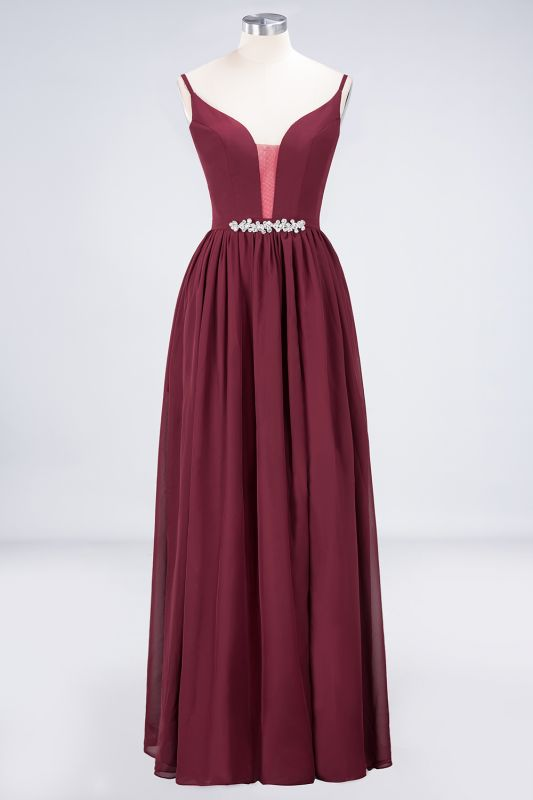 Elegant Princess Chiffon Appliques Spaghetti-Straps Deep-V-Neck Sleeveless Floor-Length Bridesmaid Dress with Ruffles