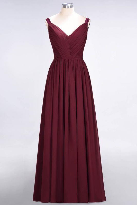 Elegant Princess Chiffon Straps V-Neck Sleeveless Backless Floor-Length Bridesmaid Dress with Ruffles
