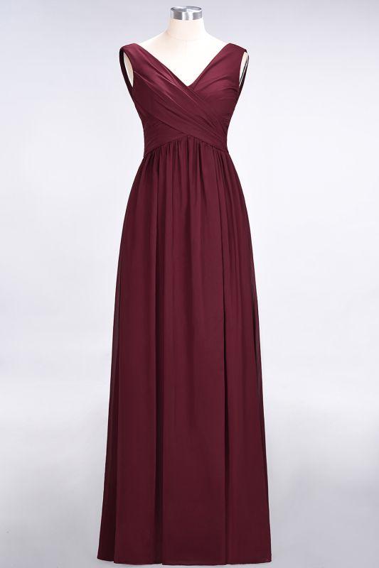 Elegant Princess Chiffon Straps V-Neck Sleeveless Floor-Length Bridesmaid Dress with Ruffles