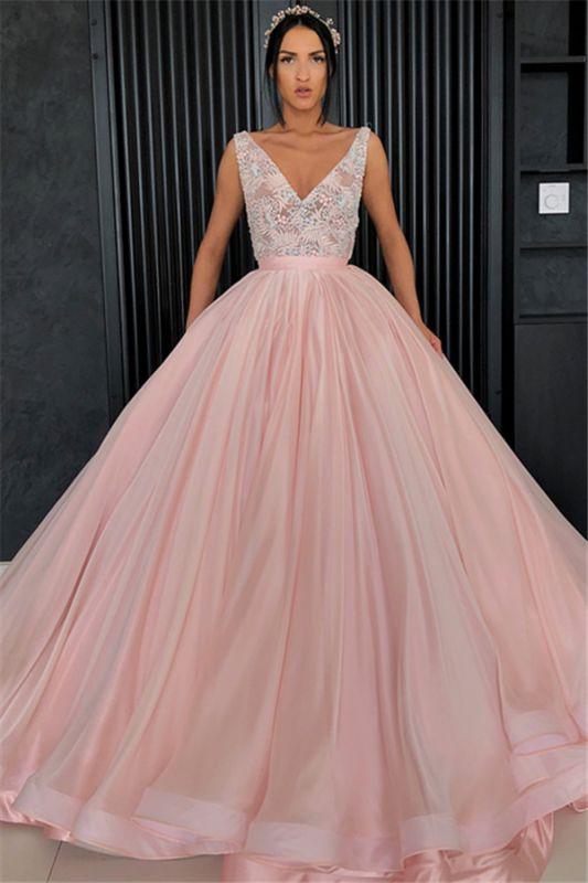 Charming Appliques V-Neck Sleeveless Prom Dress