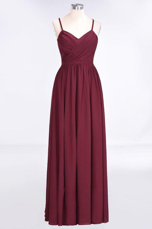 Elegant Princess Chiffon Spaghetti-Straps V-Neck Sleeveless Floor-Length Bridesmaid Dress with Ruffles