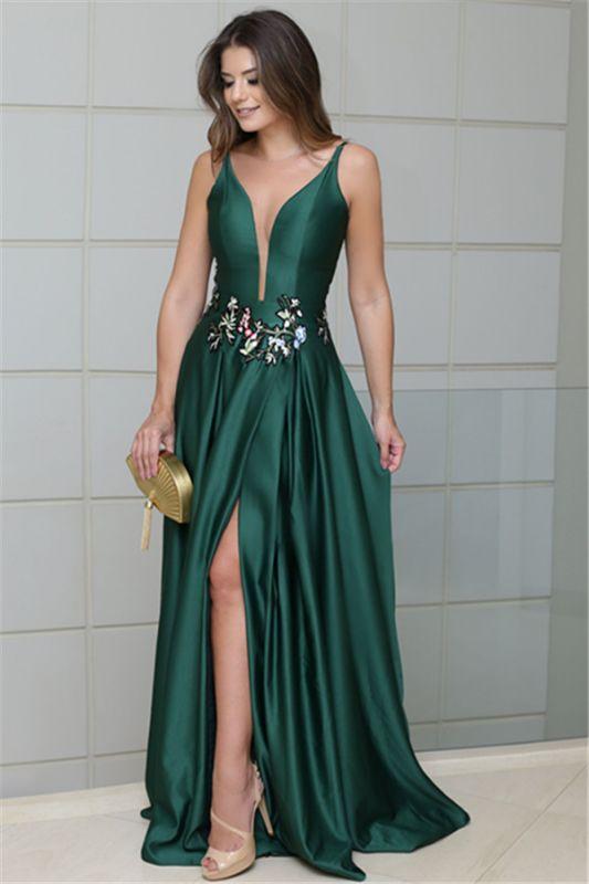Deep V-Neck Spaghetti Straps Sleeveless Side-Slit Sexy A-line Prom Dress
