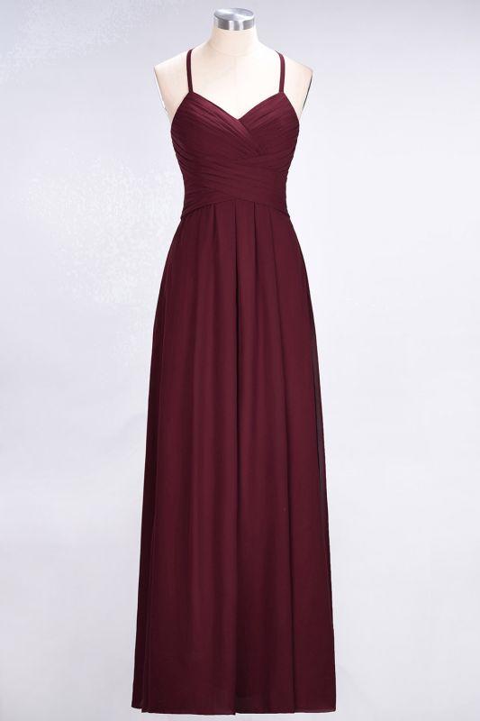 Elegant Princess Chiffon Halter V-Neck Sleeveless Floor-Length Bridesmaid Dress with Ruffles