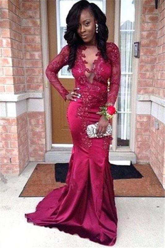 Stunning V-Neck Appliques Long Sleeves Mermaid Prom Dress