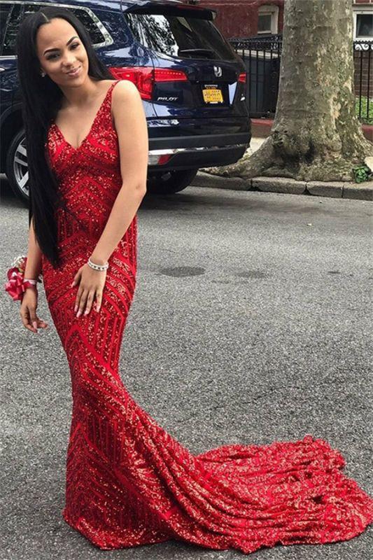 Fashion Spaghetti Straps Sleeveless V-Neck Sequins Mermaid Prom Dress