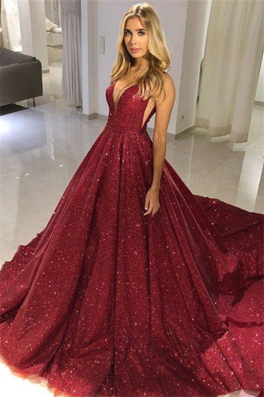 Burgundy Plus Size Sequins Formal Gowns |  Long V-Neck Sleeveless Prom Dresses