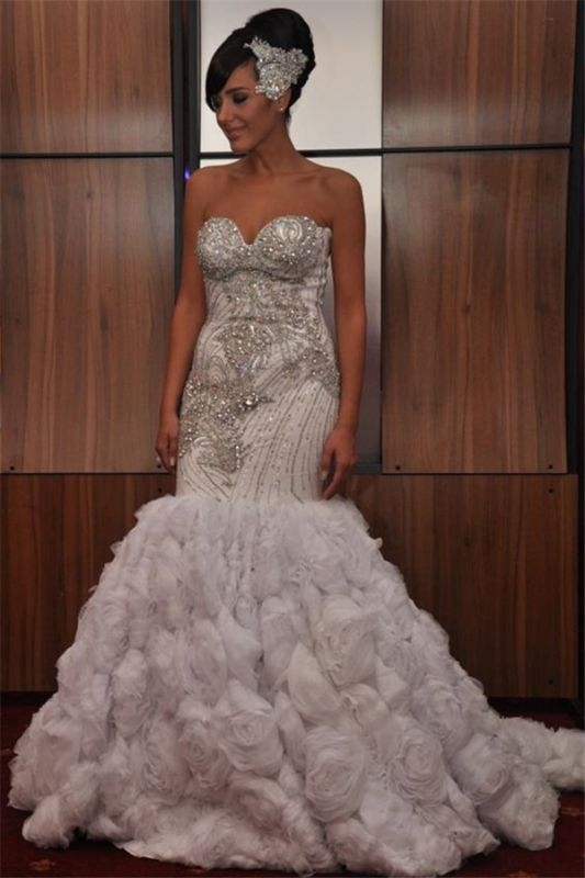 Fashion Mermaid Sequins Appliques Strapless Sleeveless Long Prom Dress