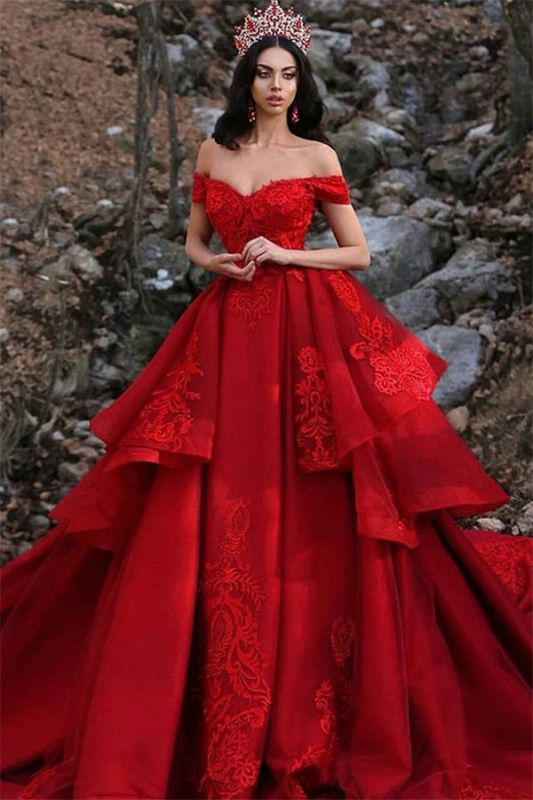 Gorgeous Appliques Off-the-Shoulder Sleeveless Prom Dress