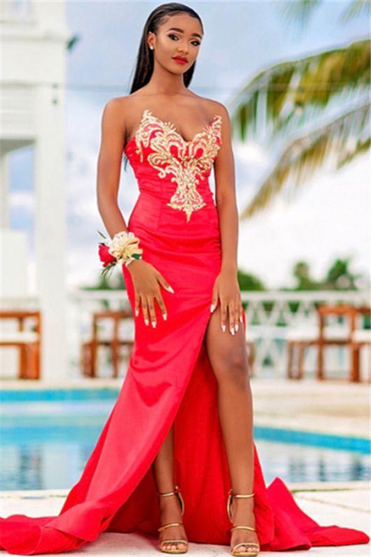 Shiny Mermaid Strapless V-Neck Appliques Front-Slipt Prom Dress