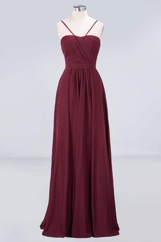 Elegant Princess Chiffon Sweetheart Spaghetti-Straps Backless Floor-Length Bridesmaid Dress with Ruffles