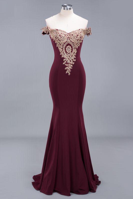 Elegant Mermaid Off-The-Shoulder Floor-Length Mermaid Appliques Zipper Prom Dress