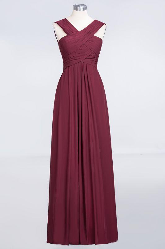 Elegant Princess Chiffon V-Neck Straps Sleeveless Floor-Length Bridesmaid Dress with Ruffles