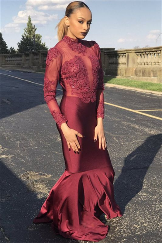 Unique Long Sleeves High Neck Mermaid Prom Dress