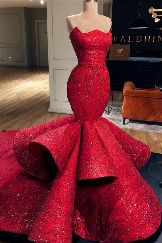 Elegant Mermaid Red Evening Gowns | Ruffles Sexy Strapless Sleeveless Prom Dresses