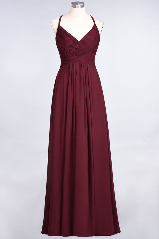 Elegant Princess Chiffon Spaghetti-Straps V-Neck Sleeveless Floor-Length Bridesmaid Dress with Ruffles