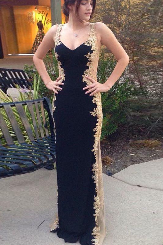 Stylish Black Straps Sleeveless Appliques Sheath Prom Dress