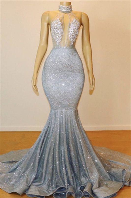 Silver Beads Sequins Mermaid Halter Sleeveless Floor Length Sexy Prom Dresses Cheap