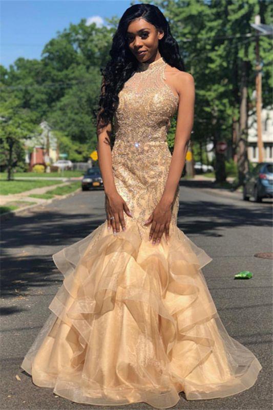 Mermaid Appliques High-Neck Sleeveless Long Prom Dress