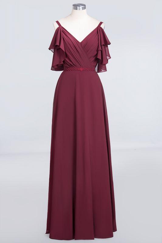 Elegant Princess Chiffon V-Neck Straps Sleeveless Ruffles Floor-Length Bridesmaid Dress with Pearls