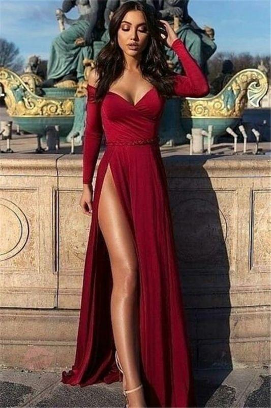 Charming Off-the-Shoulder V-Neck Long Sleeves Front Slipt Prom Dress