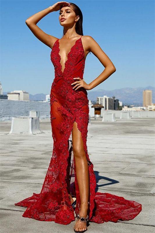 Sheath Tulle Lace Deep-V-Neck Spaghetti-Straps Backless Prom Dress