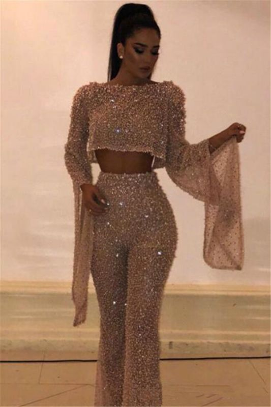 New Arrival Two Pieces Long Sleeves Crystals Crew Floor-Length Open Back Prom Dresses