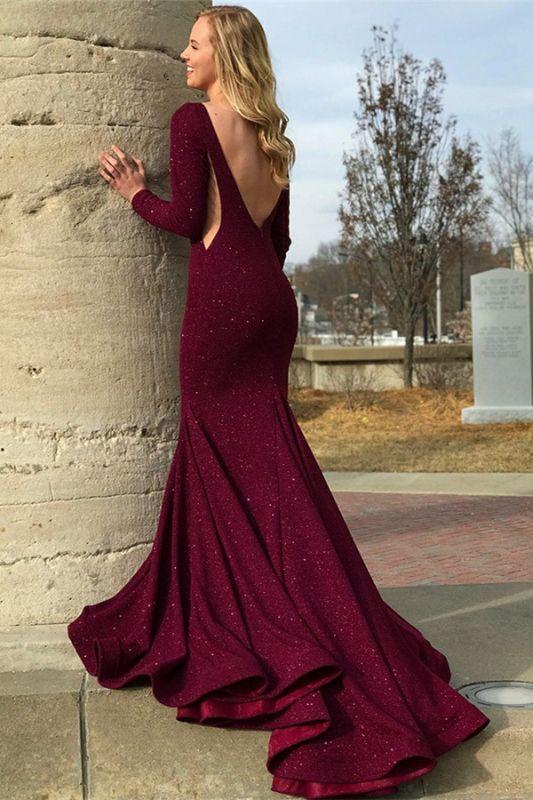 Stylish Round Neck Long Sleeves Backless Prom Dress