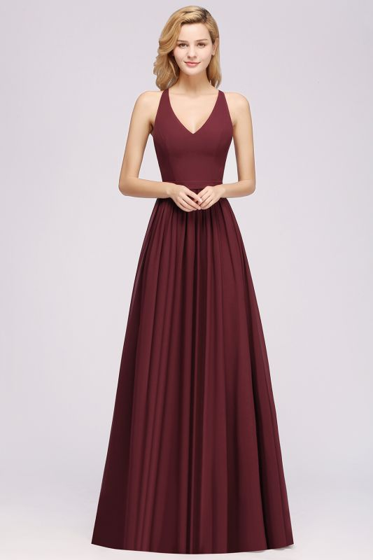 | A-Line Chiffon Lace V-Neck Sleeveless Straps Floor-Length Bridesmaid Dresses