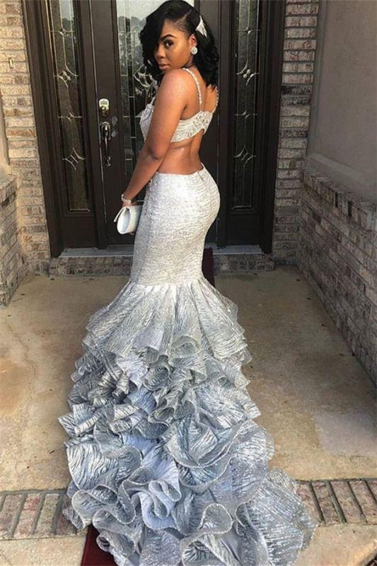 Unique Spaghetti Straps Sleeveless V-Neck Mermaid Prom Dress