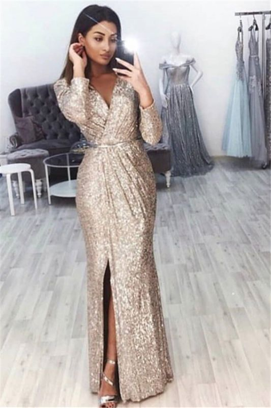 Mermaid V-Neck Long-Sleeves Front-Slipt Long Prom Dress BC0815
