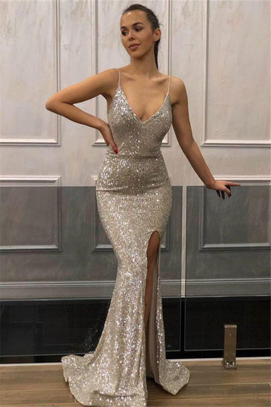 Mermaid Sequins Spaghetti-Straps Sleeveless Front-Slipt Prom Dress