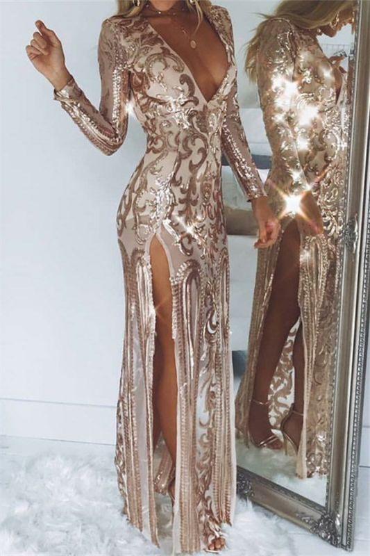 Sexy Deep V-Neck Long Sleeves Front Slipt Sheath Prom Dress