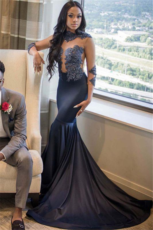 Elegant Mermaid Appliques 3/4 Sleeves Long Prom Dress