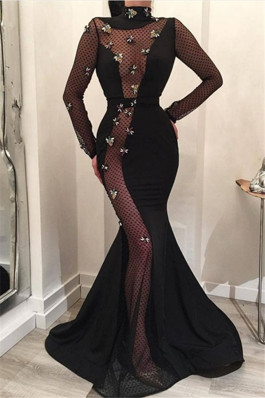 Mermaid High-Neck Long-Sleeves Long Prom Dress