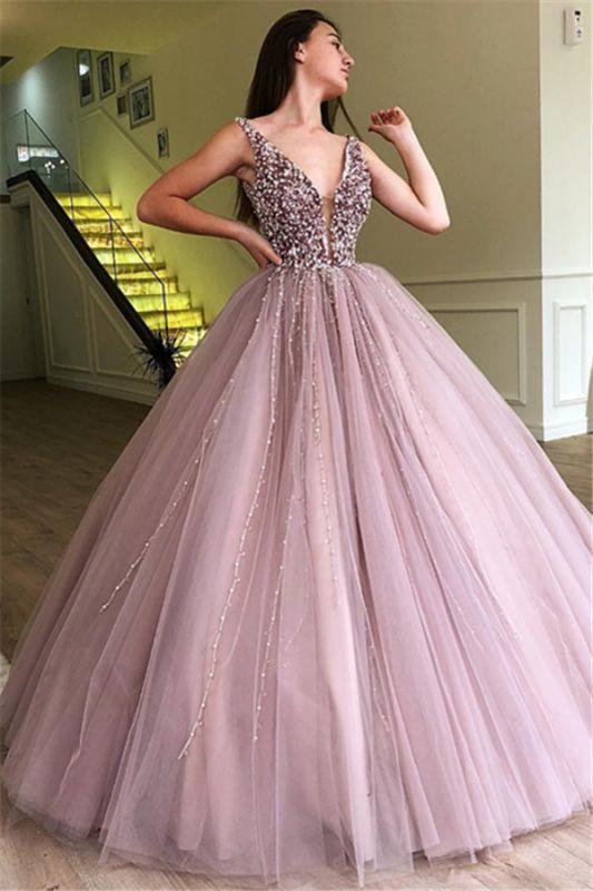 2e9843dd458e6 Tulle Beading Deep-V-Neck Straps Sleeveless Prom Dress