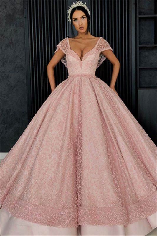 Beading V-Neck Cap-Sleeves Prom Dress
