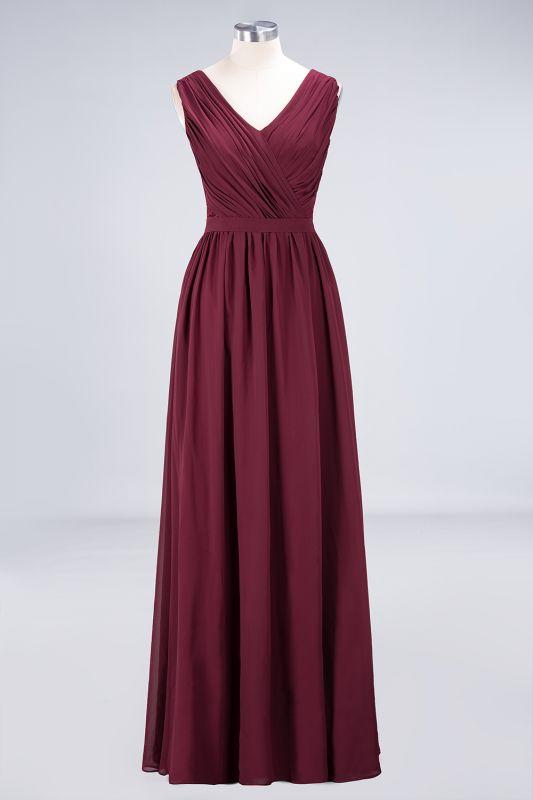 Elegant Princess Chiffon Lace V-Neck Sleeveless Floor-Length Bridesmaid Dress with Ruffles