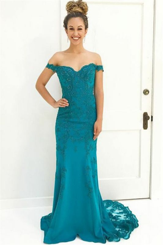 Charming Off-the-Shoulder Appliques Sleeveless Beading Floor-Length Prom Dress