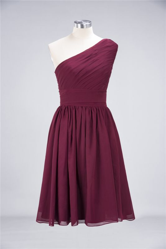 Elegant Princess Chiffon One-Shoulder Sleeveless Knee-Length Bridesmaid Dress with Ruffles