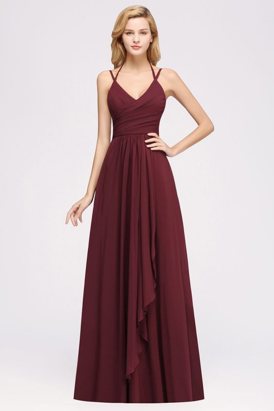 A-line Chiffon Spaghetti Straps Sleeveless Ruffles Floor-Length Bridesmaid Dresses