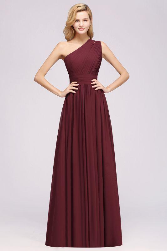 Elegant A-Line Burgundy Chiffon One-Shoulder Sleeveless Ruffles Floor-Length Bridesmaid Dresses