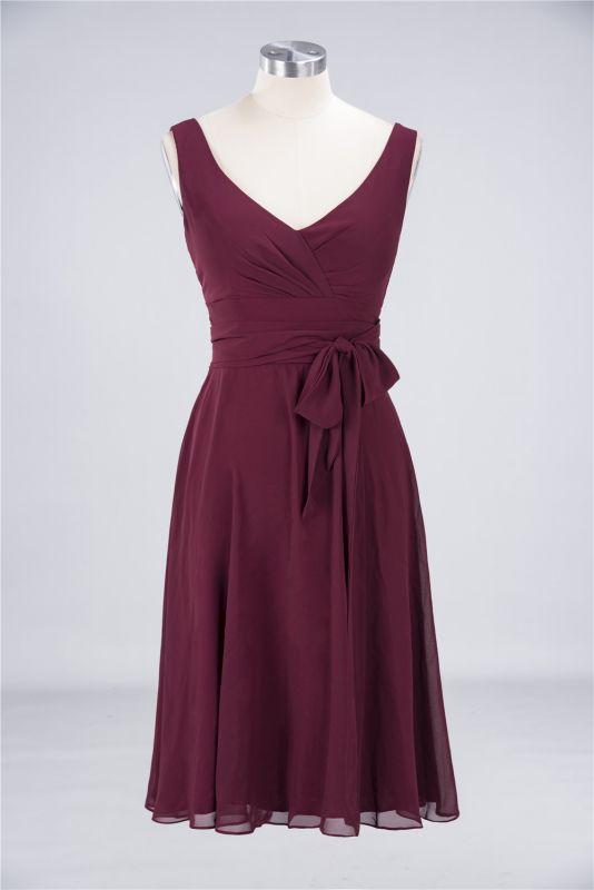 Elegant Princess Chiffon Straps V-Neck Sleeveless Ruffles Knee-Length Bridesmaid Dress with Bow Sash