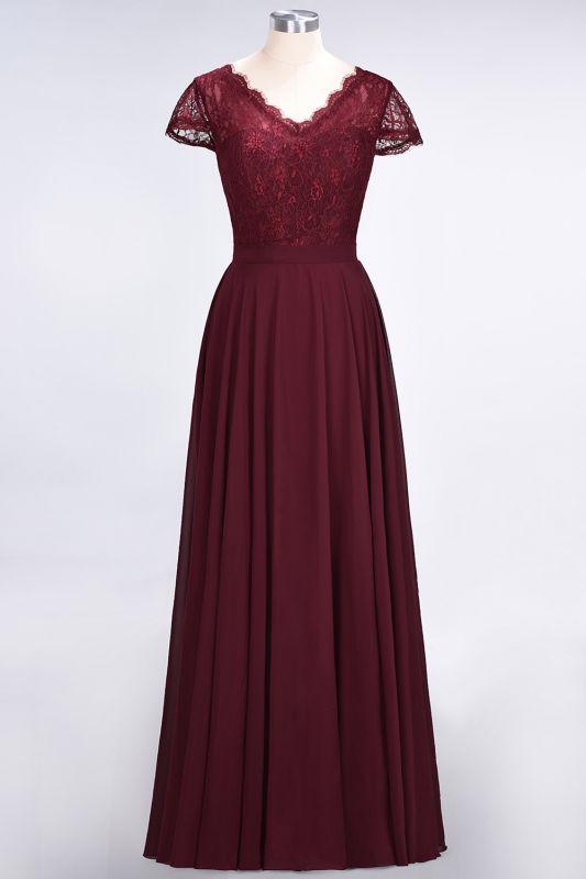 Elegant Princess Chiffon Lace V-Neck Cap-Sleeves Floor-Length Bridesmaid Dress
