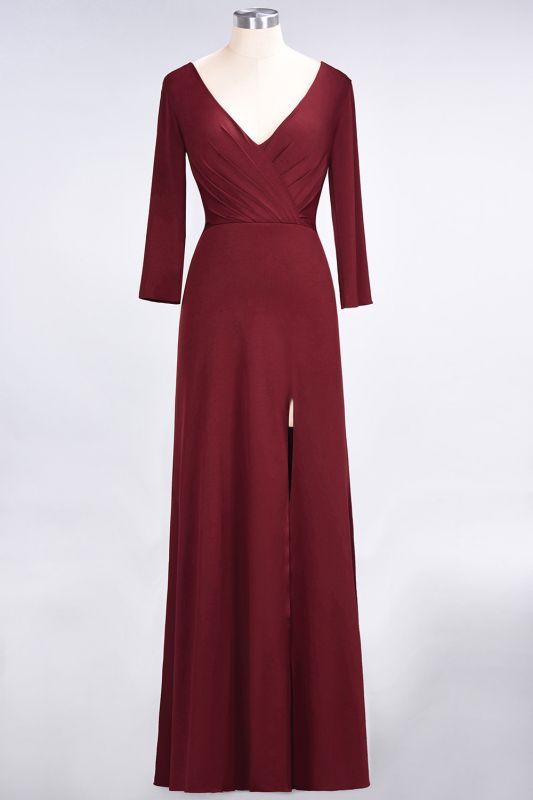 Elegant Princess Spandex V-Neck Long-Sleeves Side-Slit Floor-Length Bridesmaid Dress with Ruffles