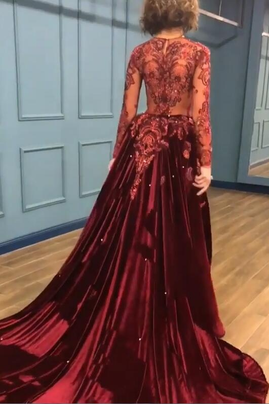 2020 Sparkle Beads Burgundy Velvet Long Sleeves Prom Dresses with Appliques BC0731